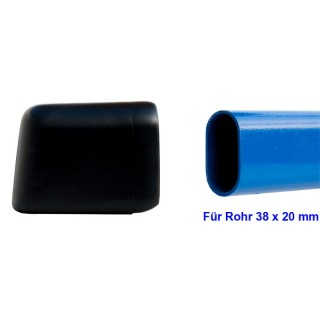 Plastic glides 103-38x20 glidecap for chair - table with flat-oval tube 38x20mm