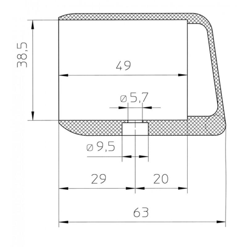 kunststoffgleiter fi 103 38x20 gleitkappe f r filzgleiter. Black Bedroom Furniture Sets. Home Design Ideas