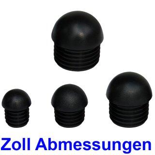 """Zoll Abmessung K250-Z Kugelform Kunststoff Lamellen-Stopfen für Rundrohr Schwarz 1/2""""-21,3x2,65"""
