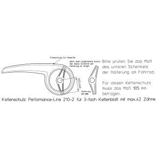 Matt Finish Kettenschutz Performance Line bei 3 fach Kettenblatt ATB MTB nachträglich bei Kettenschaltung 42Z-210 Schwarz-M
