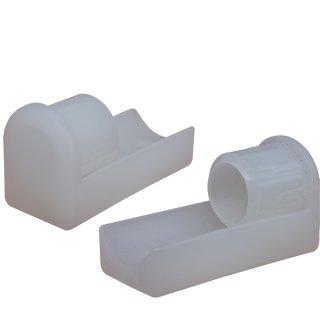 Filzgleiter - Winkelgleiter Fi-240-D Kunststoffgleiter Büro Stuhl Möbelgleiter - Fusskappe als Stuhlgleiter vorn fuer Rundrohr 25x2 Farblos-natur