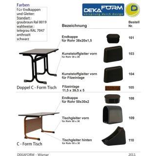 Kunststoff Gleiter - Gleitkappe als Tischgleiter vorn 109, Fusskappe 50 x 30 ,Hellgrau