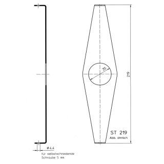 Steckbrille 219mm bis 48 Zähne 1-fach Kettenblatt (verzinkt)  fuer Fahrrad Kettenschutz Nabenschaltung