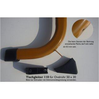 Tischgleiter hinten 110 Kunststoff Möbelgleiter, Schalengleiter zum Schrauben  für Schulmöbel Casala Schultisch Moebel mit Rohr 50x30mm Farbe hellgrau