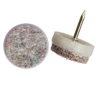 Nagelgleiter aus Kunststoff als Filzgleiter, Möbelgleiter, Stuhlbeingleiter zum Nageln mit Filzgleitfläche 213-rund  Weiss Durchmesser 24