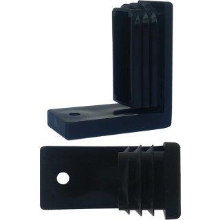 Winkelgleiter - Kunststoffgleiter 242 Möbelgleiter - Fusskappe als Stuhlgleiter vorn für Rechteckrohr 50 x 25